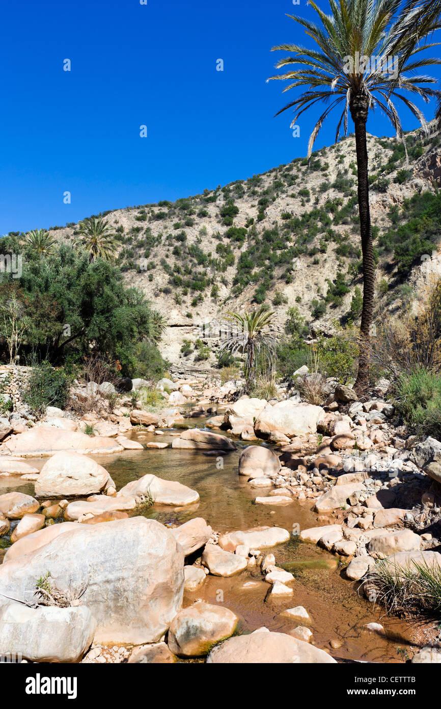 Par les gorges de la rivière dans la vallée du Paradis, au nord d'Agadir, Maroc, Afrique du Nord Photo Stock