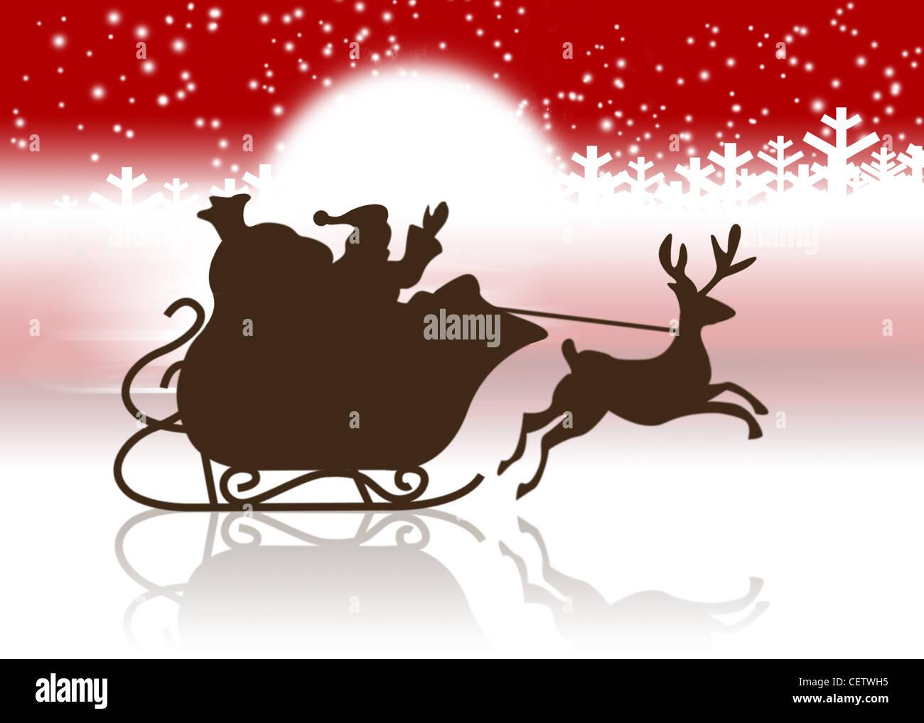 silhouette de p re no l et renne tra neau banque d 39 images photo stock 43572849 alamy. Black Bedroom Furniture Sets. Home Design Ideas