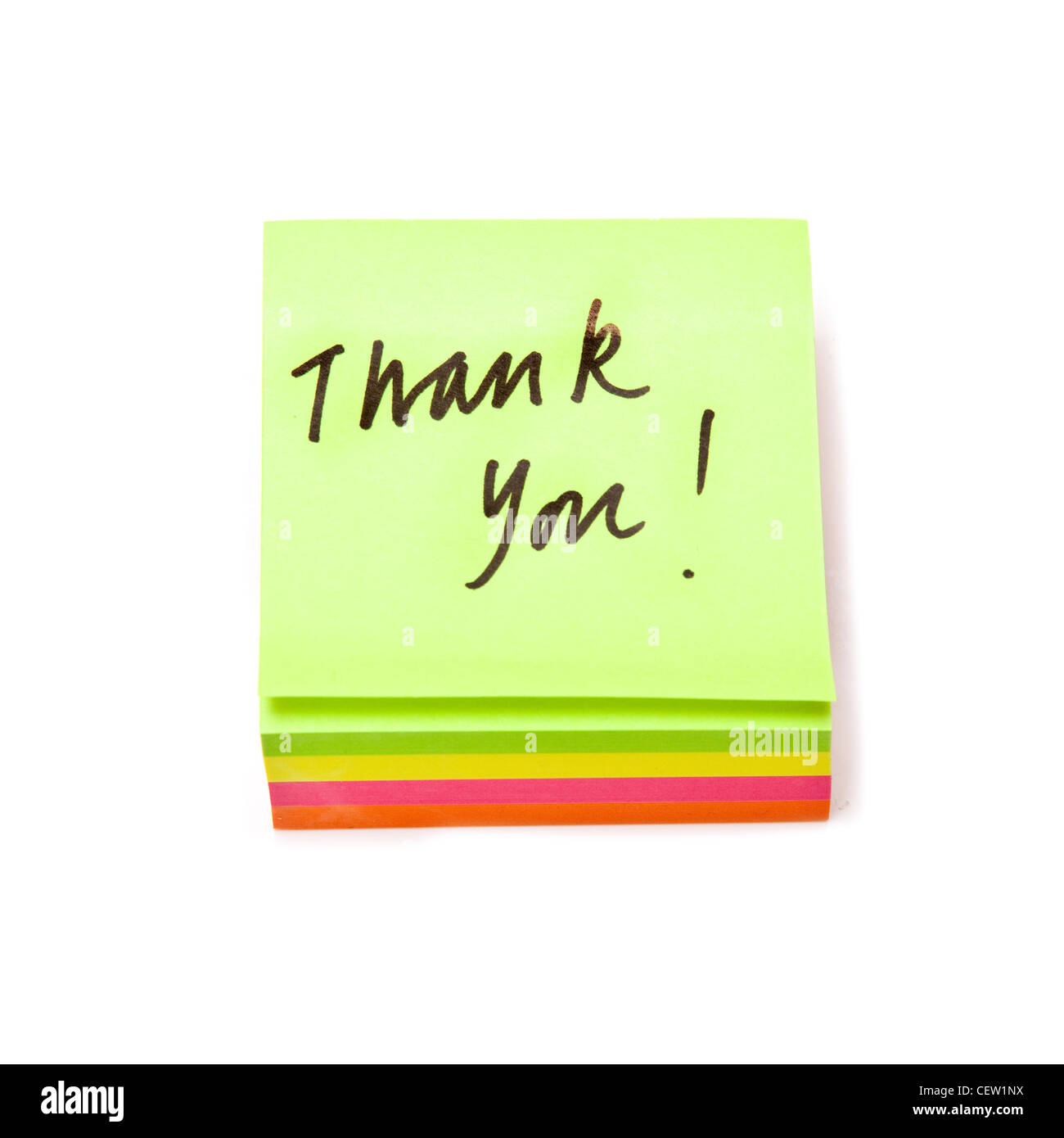 Message de remerciement sur un post-it-notes. isolated on a white background studio. Photo Stock