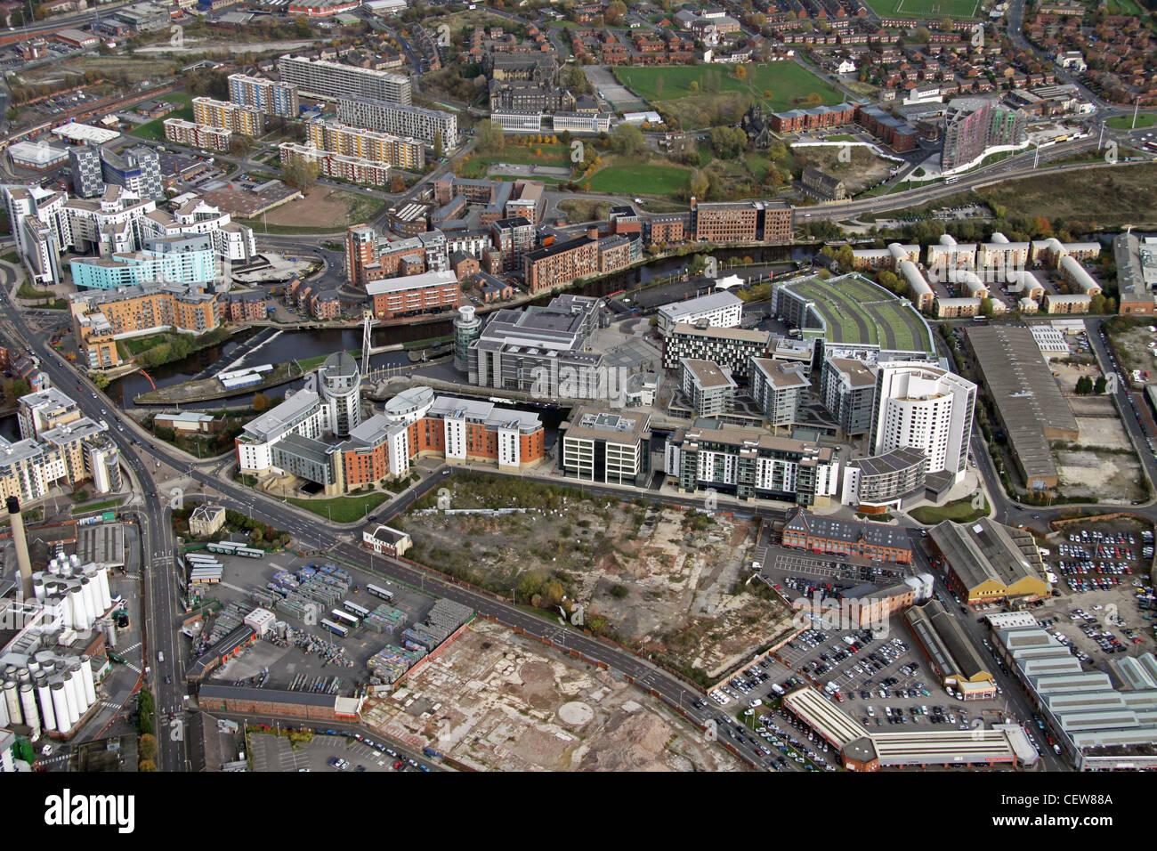 Image aérienne de Clarence Dock area, Leeds Photo Stock