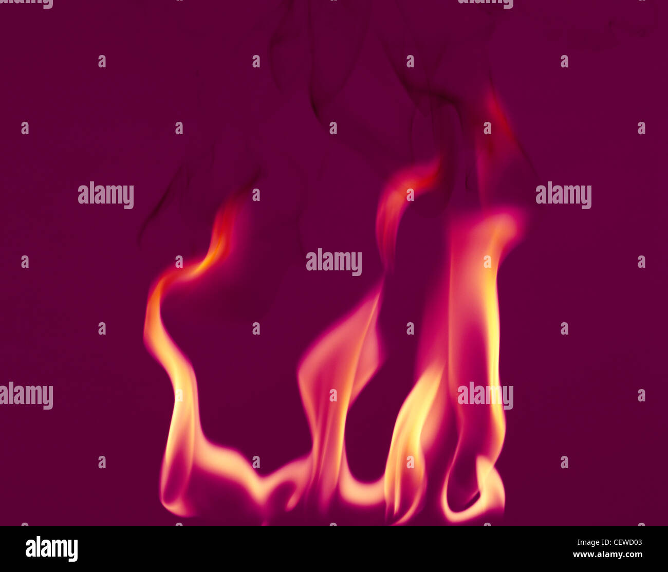 Flammes de feu avec des traces de fumée sur un fond violet foncé Photo Stock