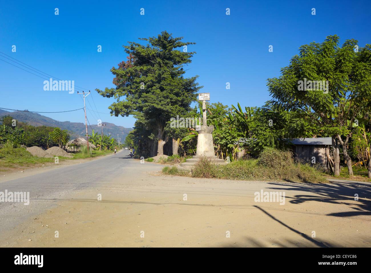Panneau routier à Dili, Timor-Leste (Timor oriental), l'Asie Banque D'Images