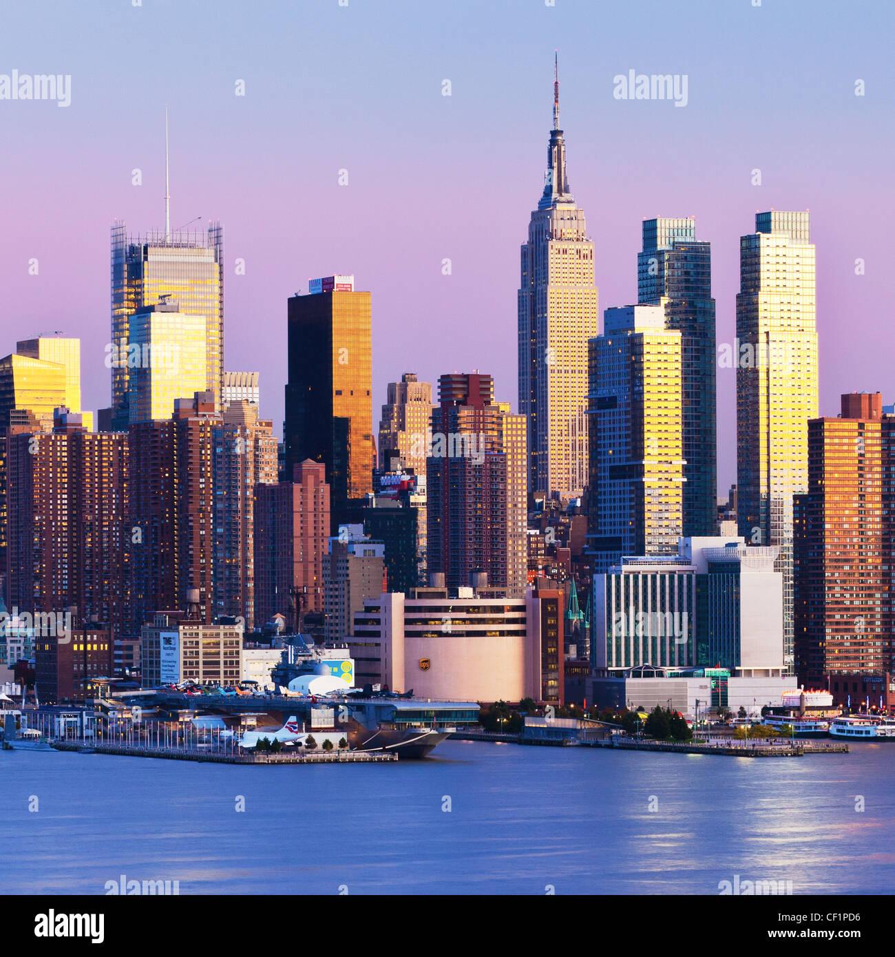 Manhattan, vue de Manhattan de l'autre côté de la rivière Hudson, New York, États-Unis d'Amérique Photo Stock