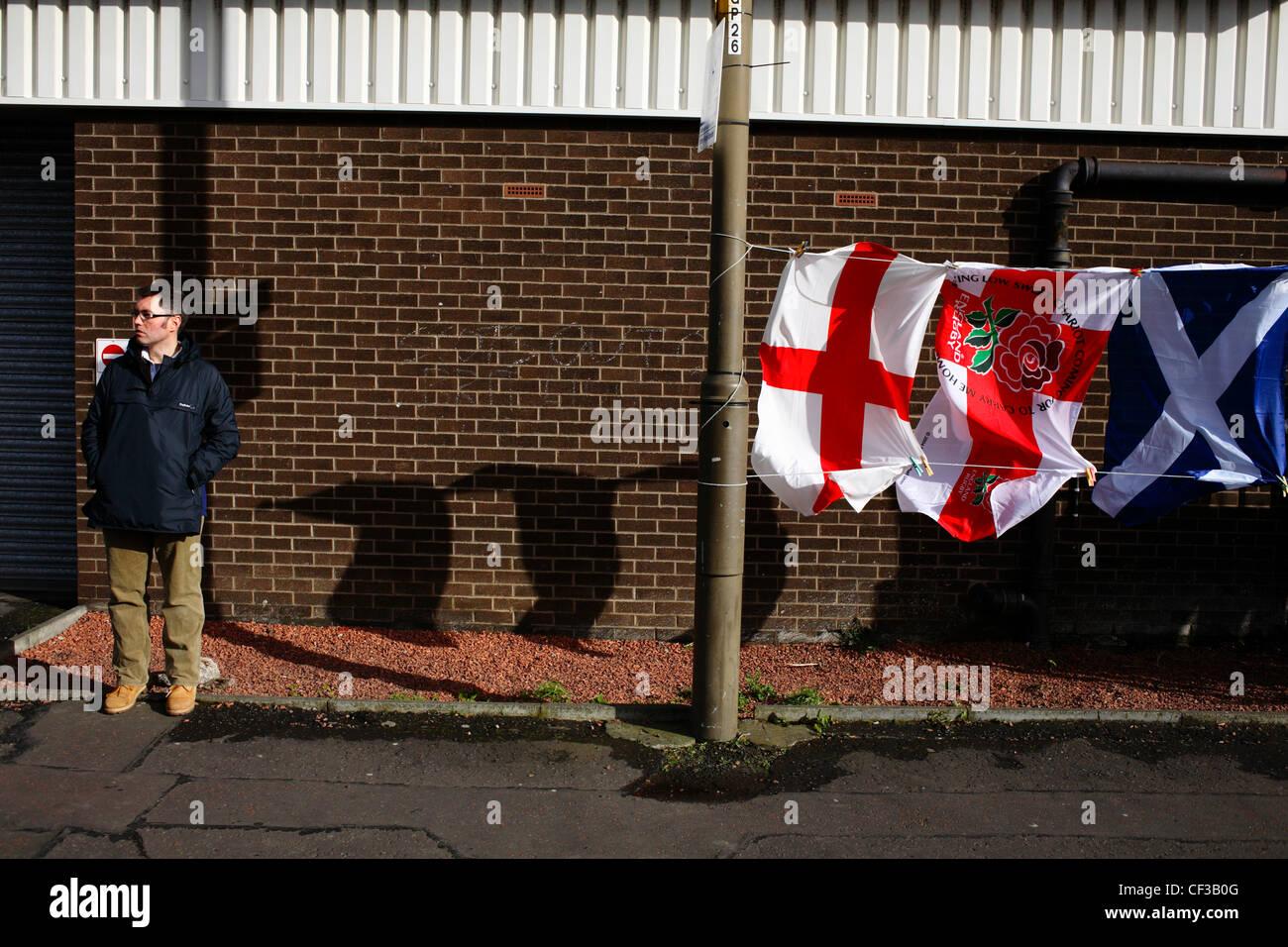Une France rugby partisan à l'extérieur du stade de Murrayfield à Édimbourg. Photo Stock