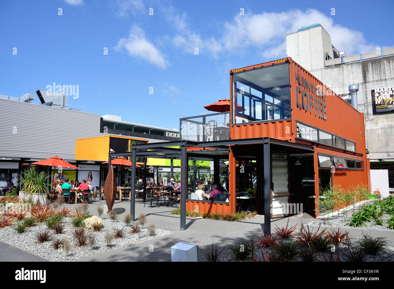 Re:start Container City construit après les tremblements de terre, Cashel Mall, CBD, Christchurch, Canterbury, Photo Stock