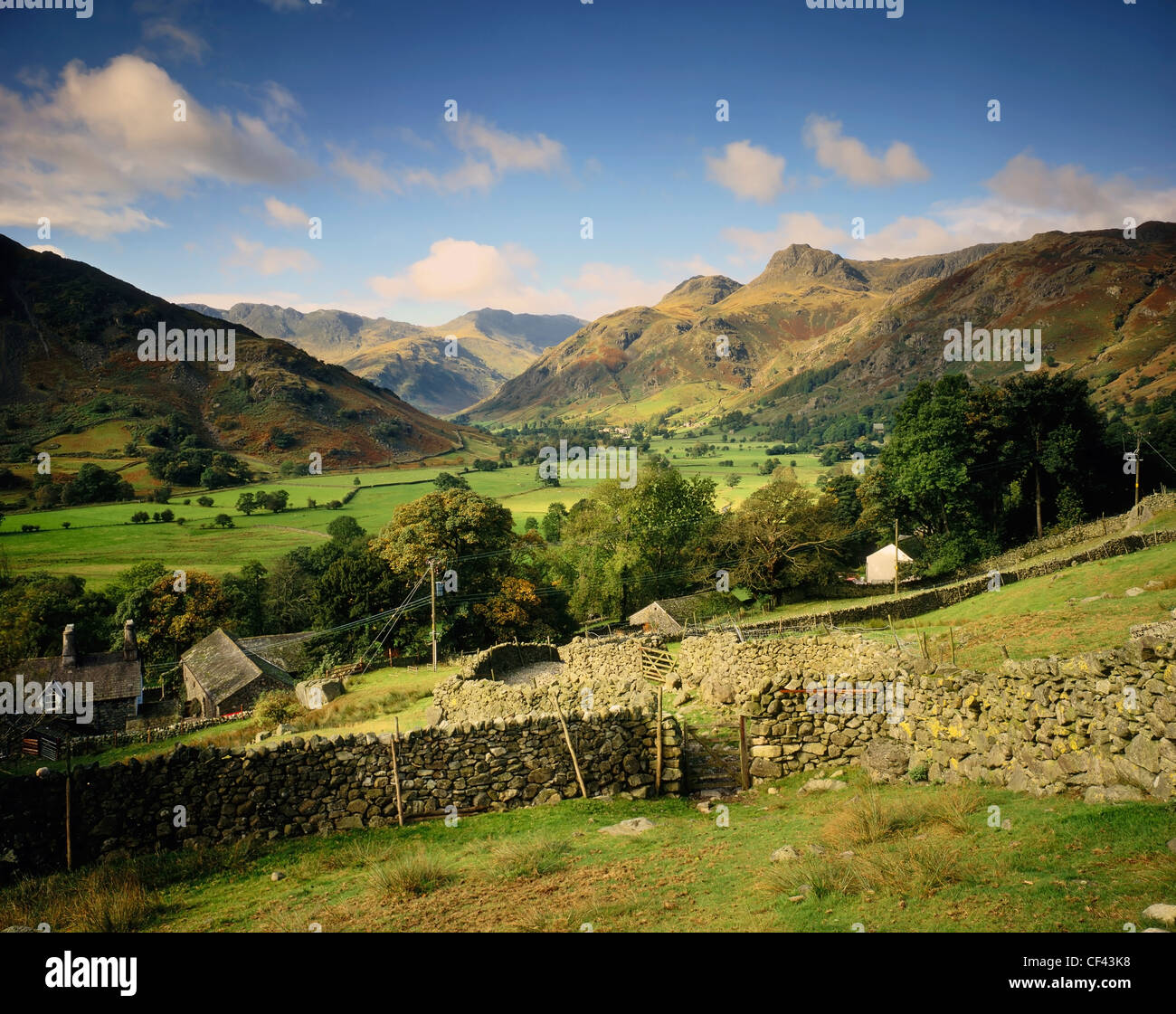 Vue sur la vallée de Langdale vers Langdale Pikes dans le Lake District. Photo Stock