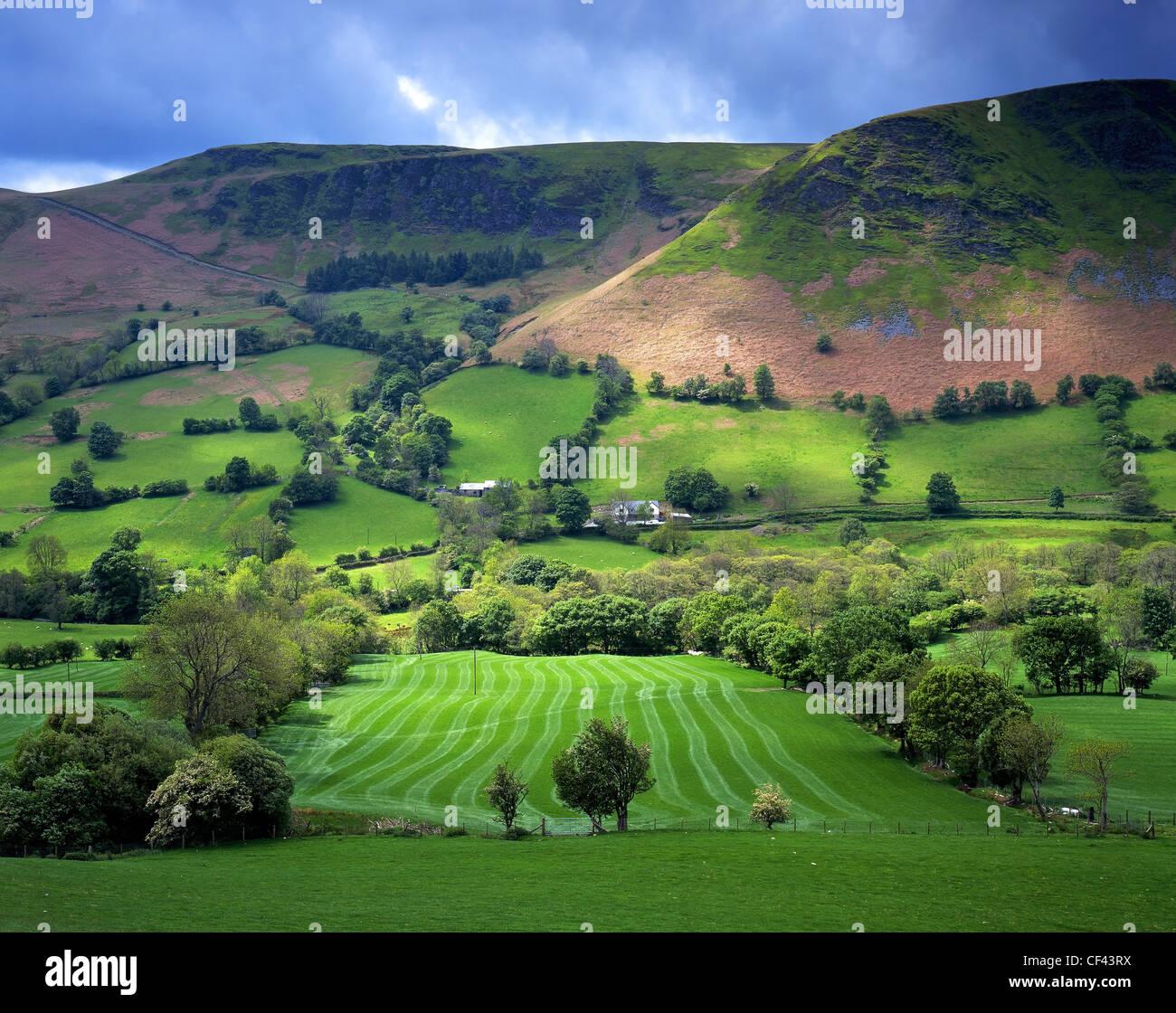 La recherche à travers une luxuriante vallée fertile sur une journée d'été au milieu Photo Stock