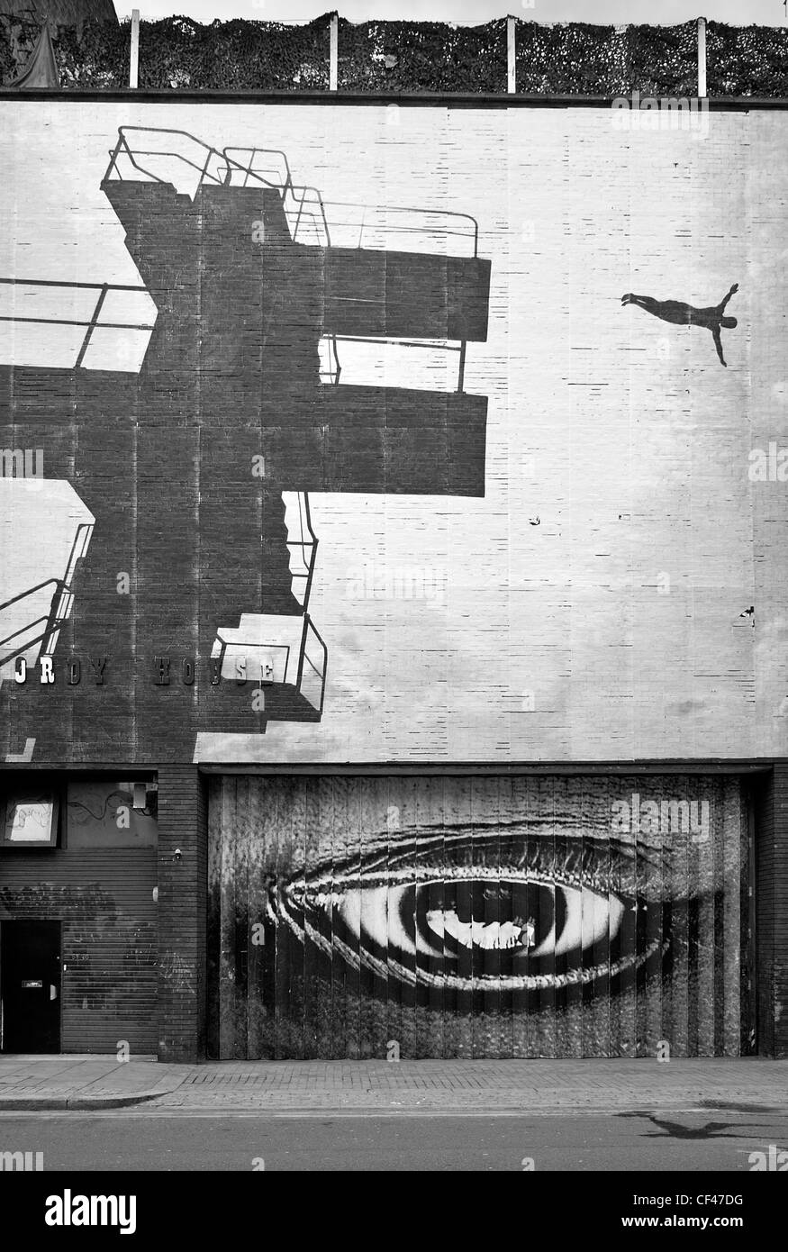 L'art de mur sur Curtain Road à Hackney. Photo Stock