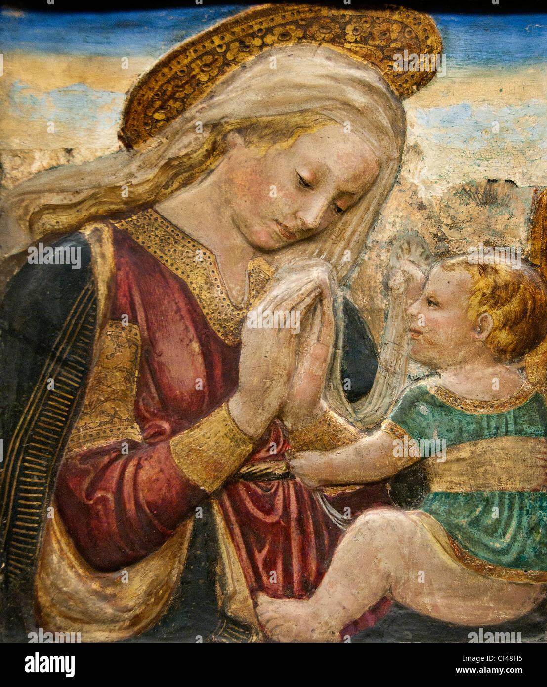 La Vierge adorant l'Enfant Jésus Christ Peinture stuc Desiderio da Settignano 1430 - 1464 1427 - Florence Photo Stock