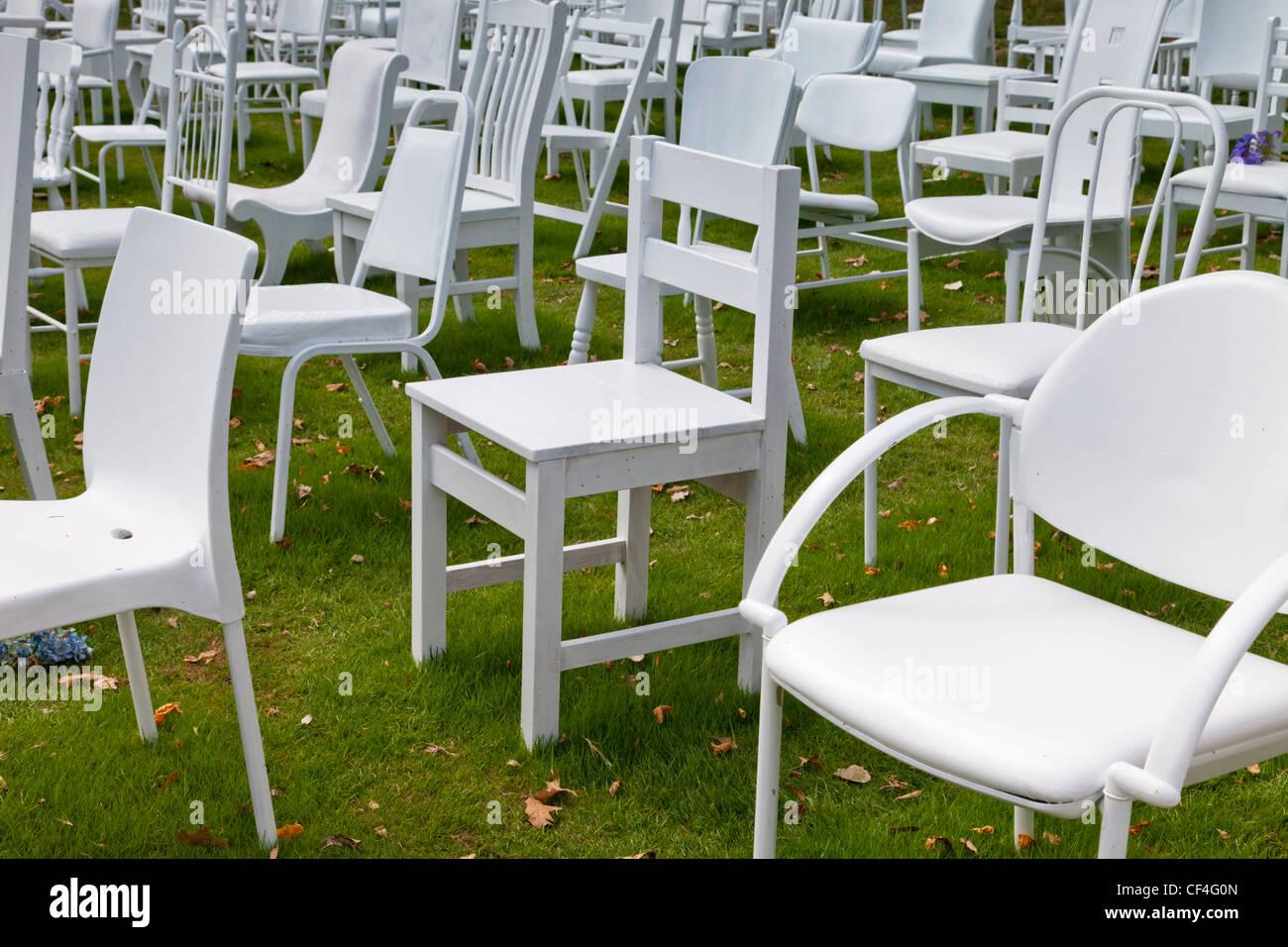 185 chaises vides séisme de Christchurch Memorial Banque D'Images