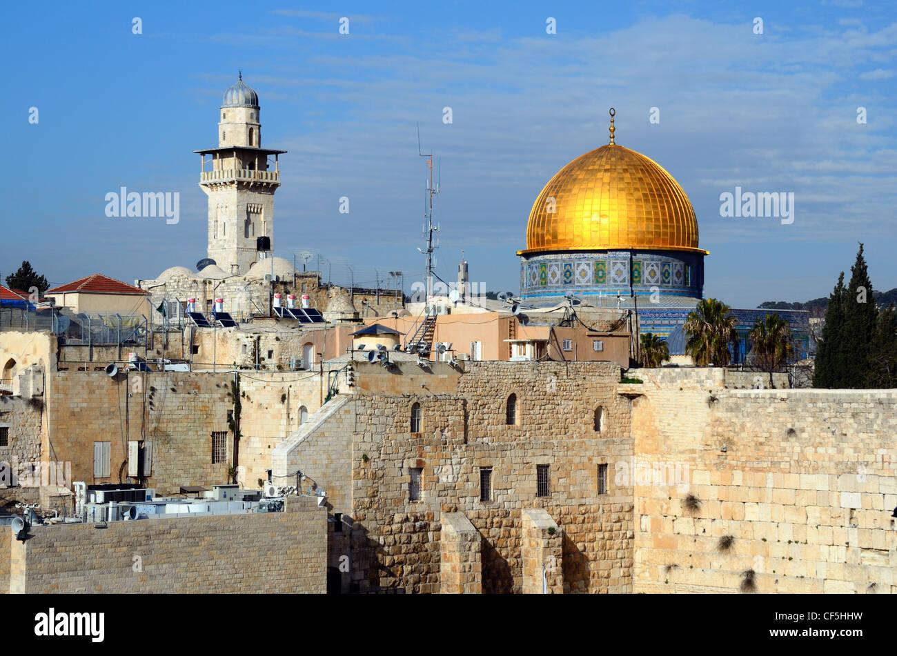 Mur des lamentations et Dôme du Rocher à Jérusalem, Israël Banque D'Images