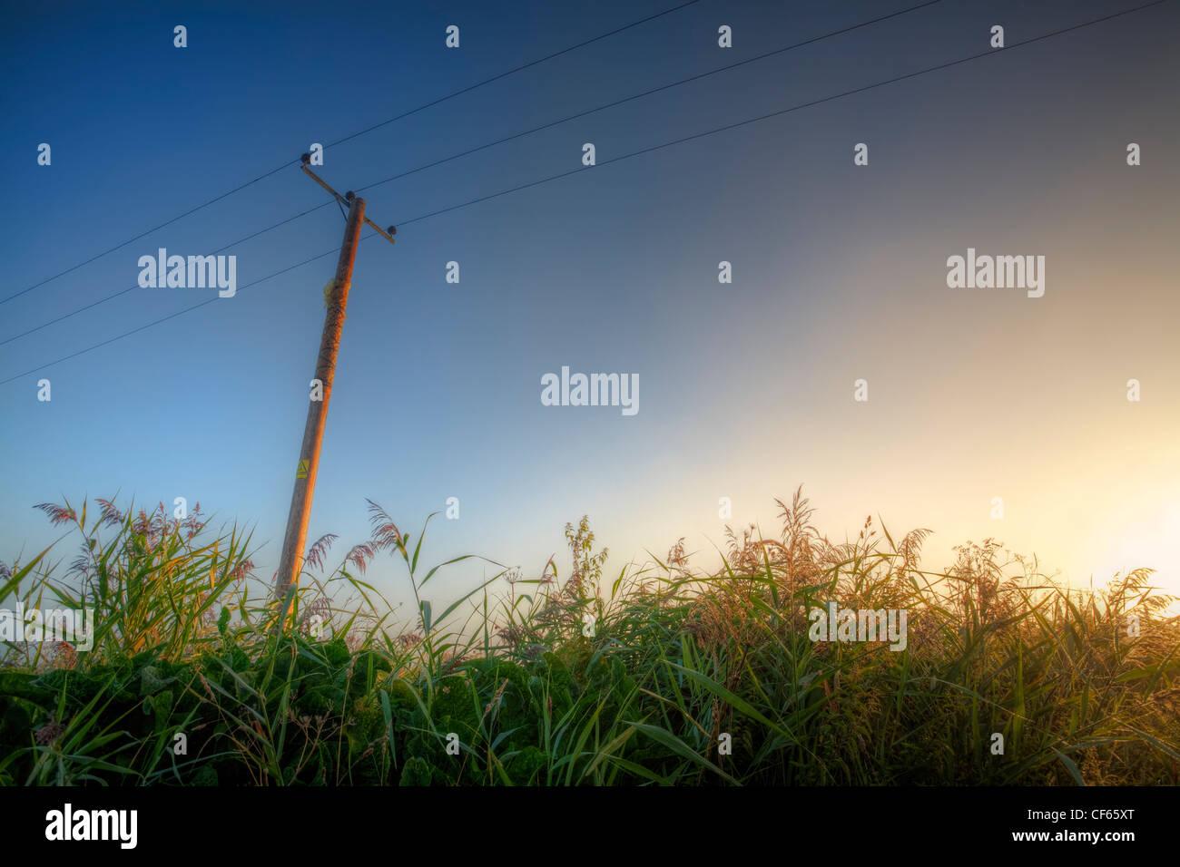 Lever de soleil dans la lumineuse, l'échelle de l'open skies Cambridgeshire Fens. Photo Stock