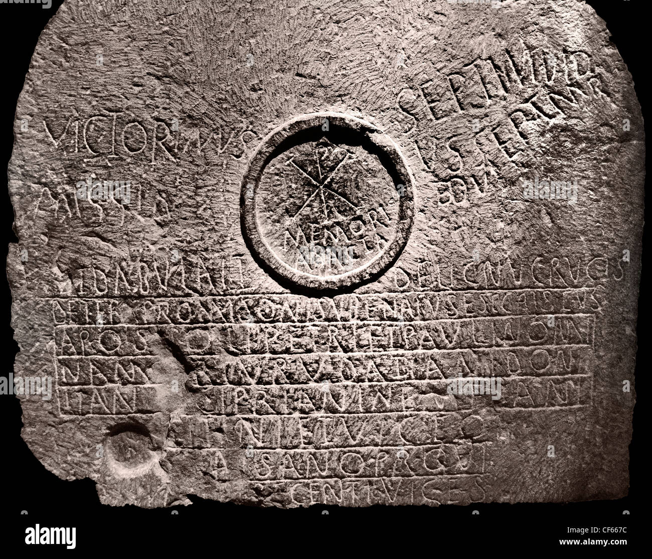 Chi Rho table mensa symbole martyrs troisième trimestre de IV - 5 siècle avant J.-C. Umm el Kherbet Ahdam Photo Stock