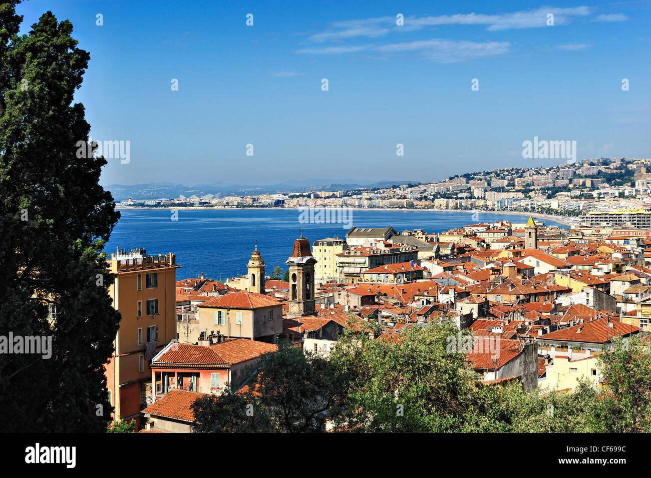 Aperçu de Nice, Côte d'Azur, France. Photo Stock