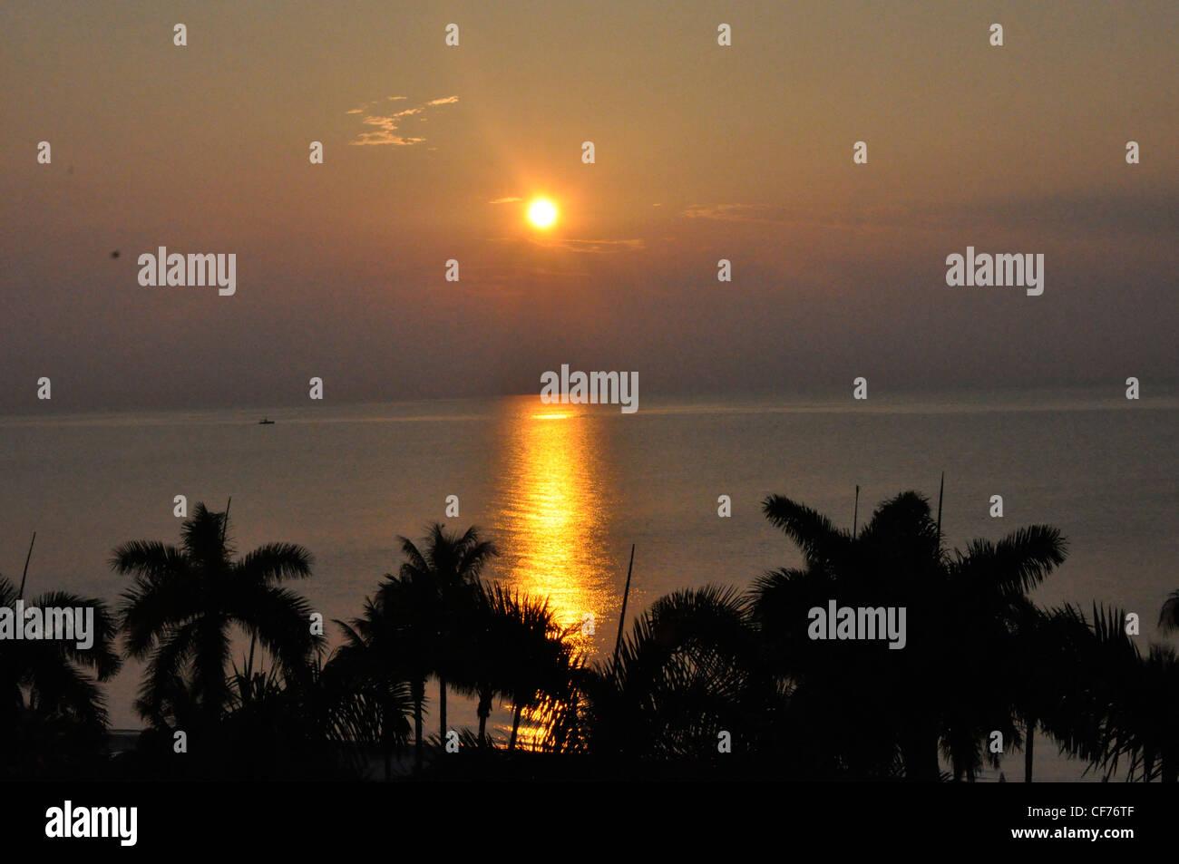 Nuit en couchers de Key Biscayne romance locations Photo Stock