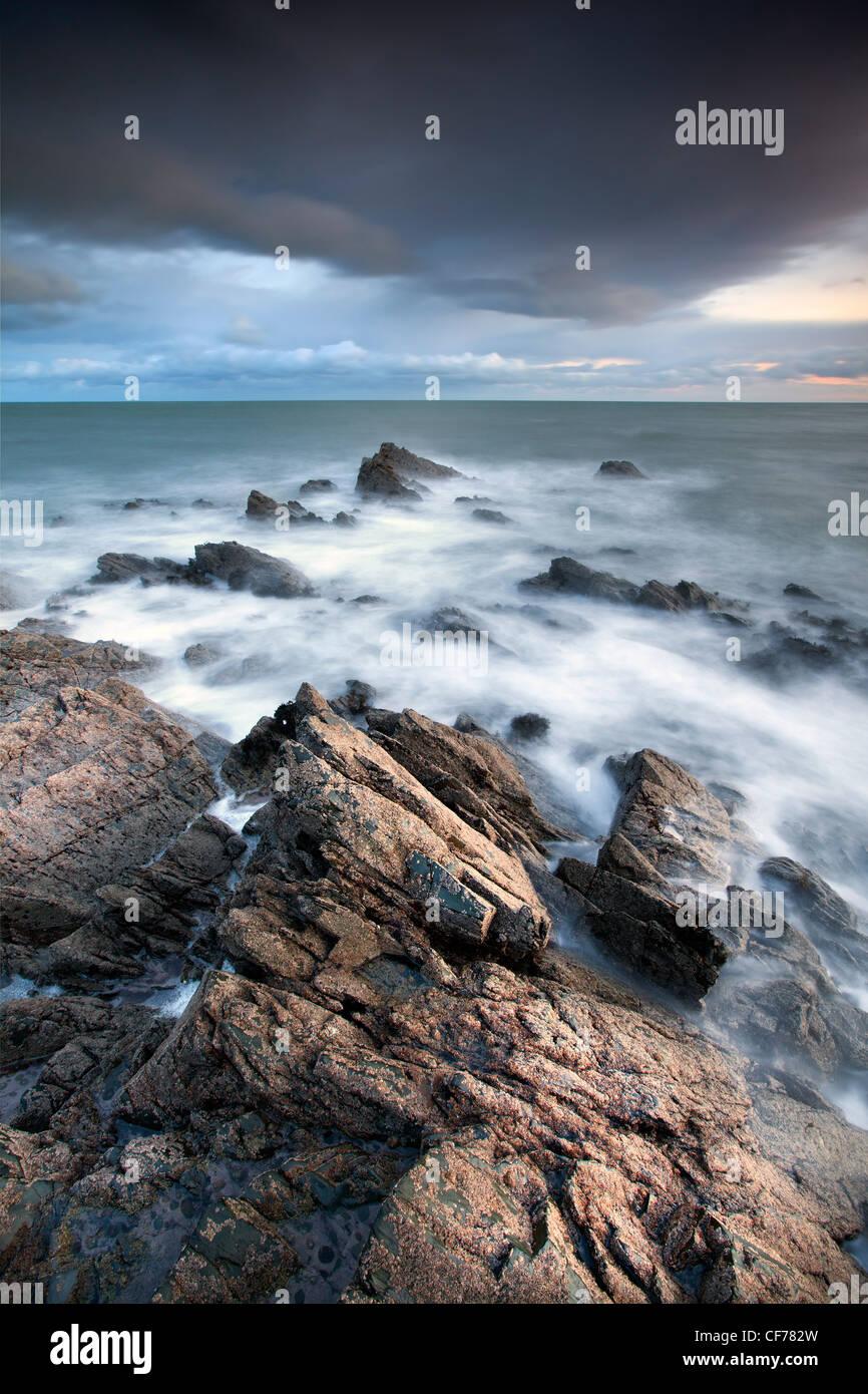Vue côtière de la baie de Dundrum, County Down. Photo Stock