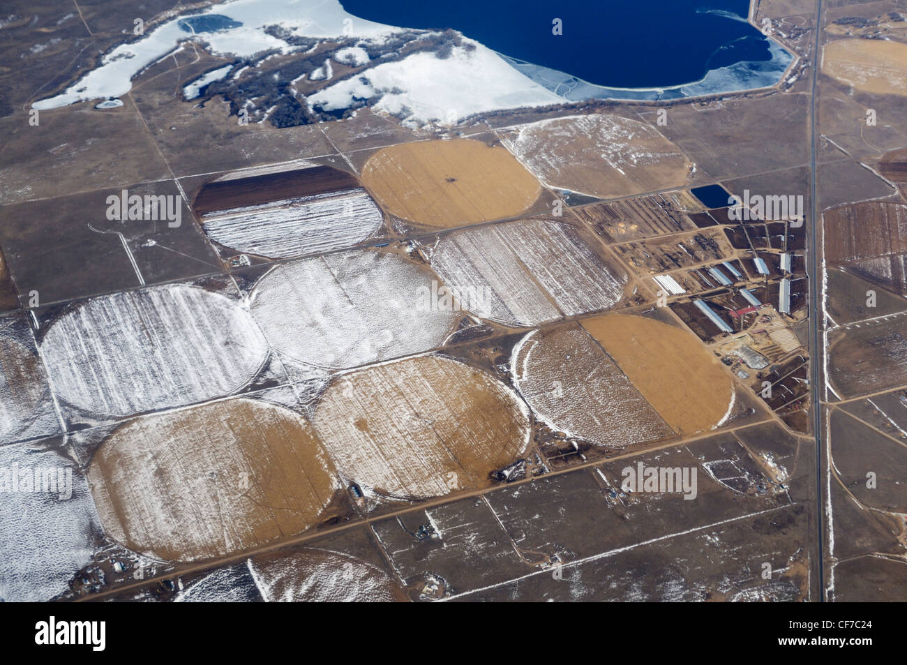 Terres agricoles de 30 000 pieds en hiver, Kansas, United States Photo Stock