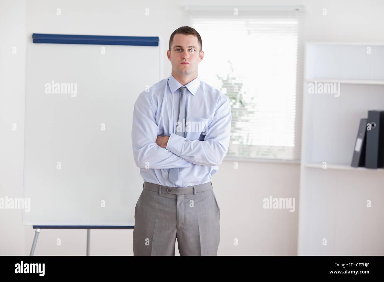 Businessman prêt à donner une présentation Photo Stock
