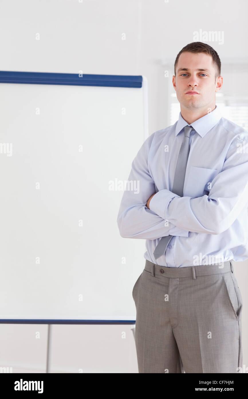 Businessman sur le point de faire une présentation Photo Stock