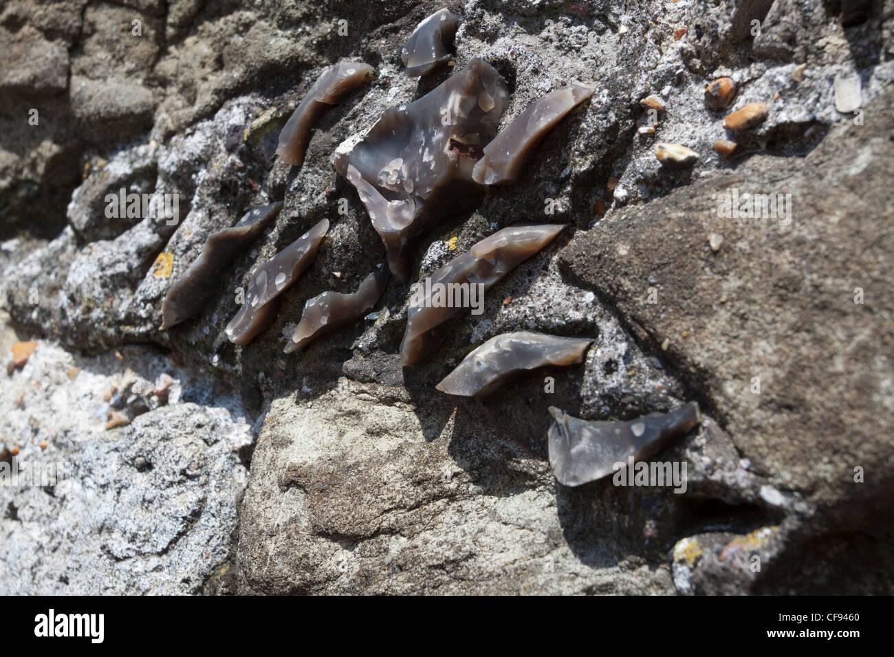 Détail du mur de pierre de silex Photo Stock