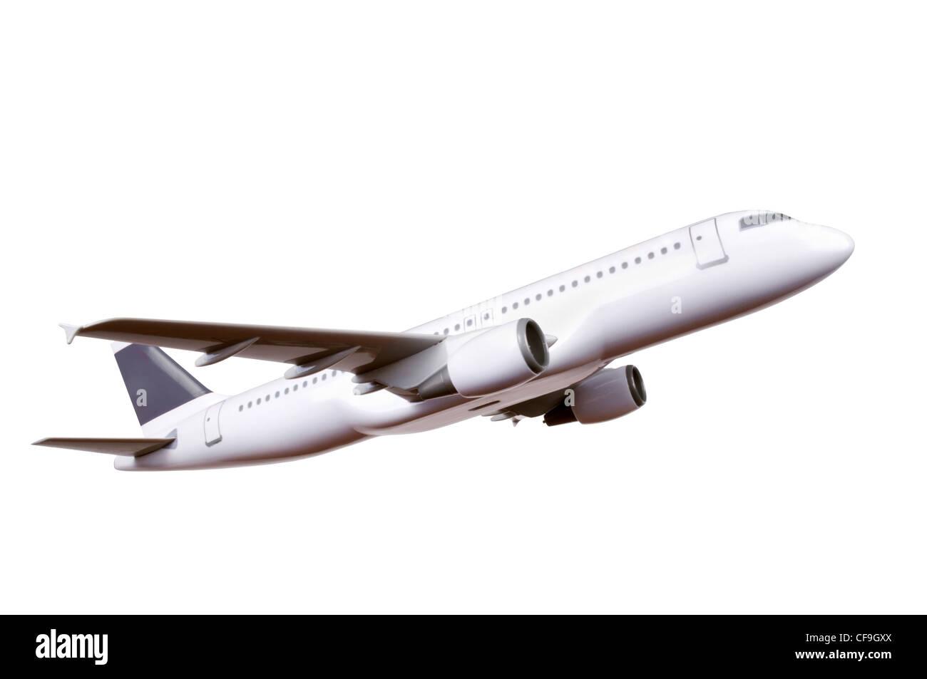 Modèle d'avion commercial isolé sur fond blanc Photo Stock