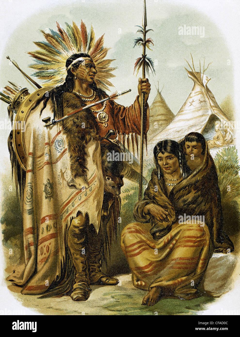 Les Indiens d'Amérique. La race rouge indien. Gravure couleur, fin du xixe siècle. Photo Stock