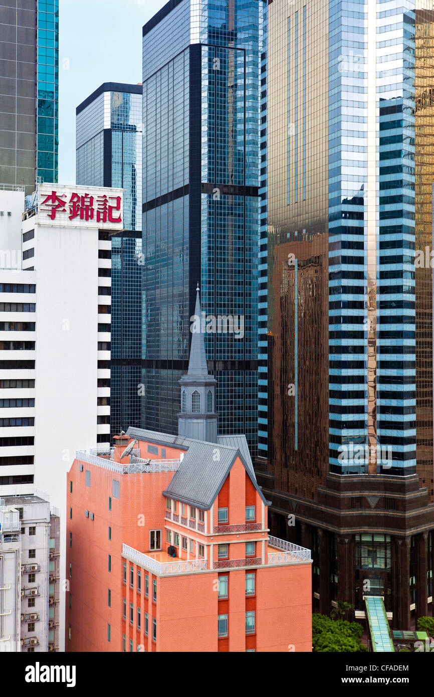 Les immeubles de grande hauteur à Wan Chai, Hong Kong Island, Hong Kong, Chine Photo Stock