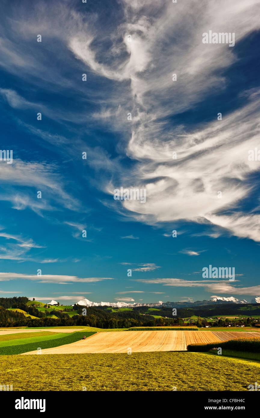 Alpes, chaîne de montagne, ciel bleu, bleu, Azur, cirrus, Emmental, Felder, Föhn, le foehn, vent chinook, Photo Stock