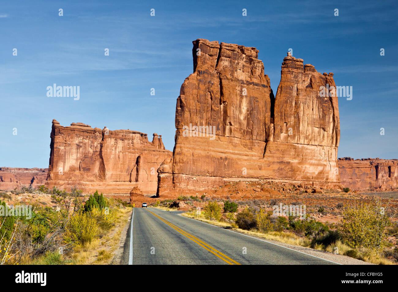 USA, United States, Amérique du Nord, l'Utah, voûtes, Arches National Park, dur, d'aventure, le Photo Stock