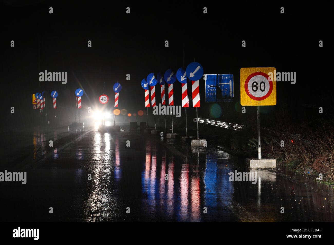 Trafic panneau près de Sparte, Péloponnèse, Grèce Photo Stock