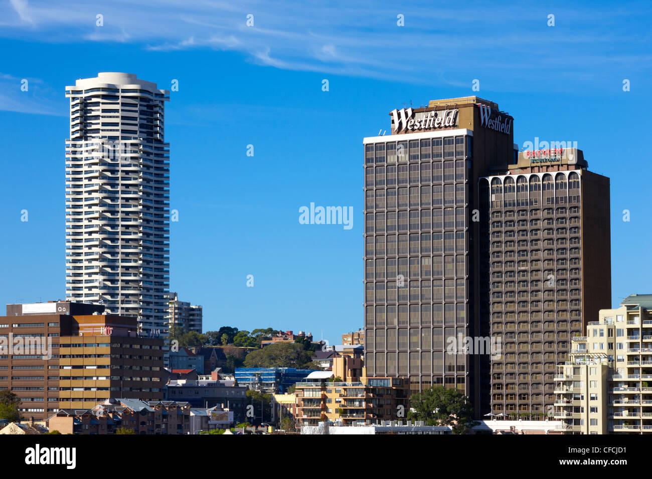 Les appartements de l'horizon et Westfield et Bayview Boulevard, Sydney, Australie Photo Stock