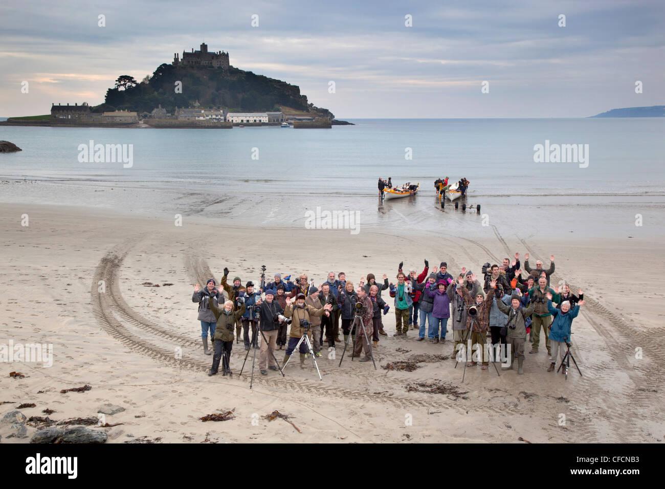 Sortie de groupe photographique à Marazion, St Michael's Mount, Cornwall, UK Photo Stock