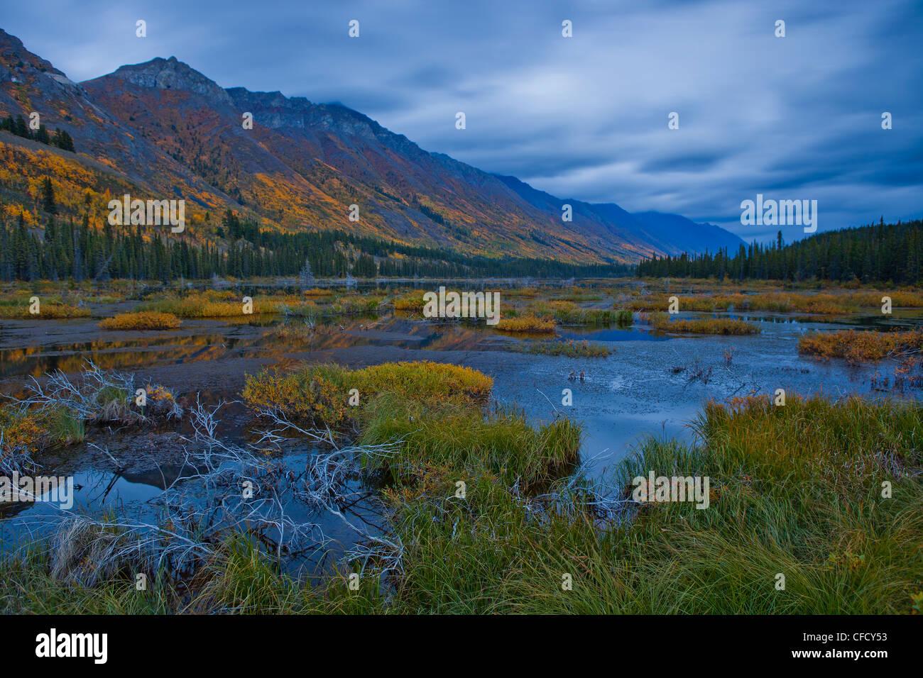 Au cours de l'exposition de nuit à l'extérieur, Annie Lake Whitehorse, Yukon, Canada. Banque D'Images