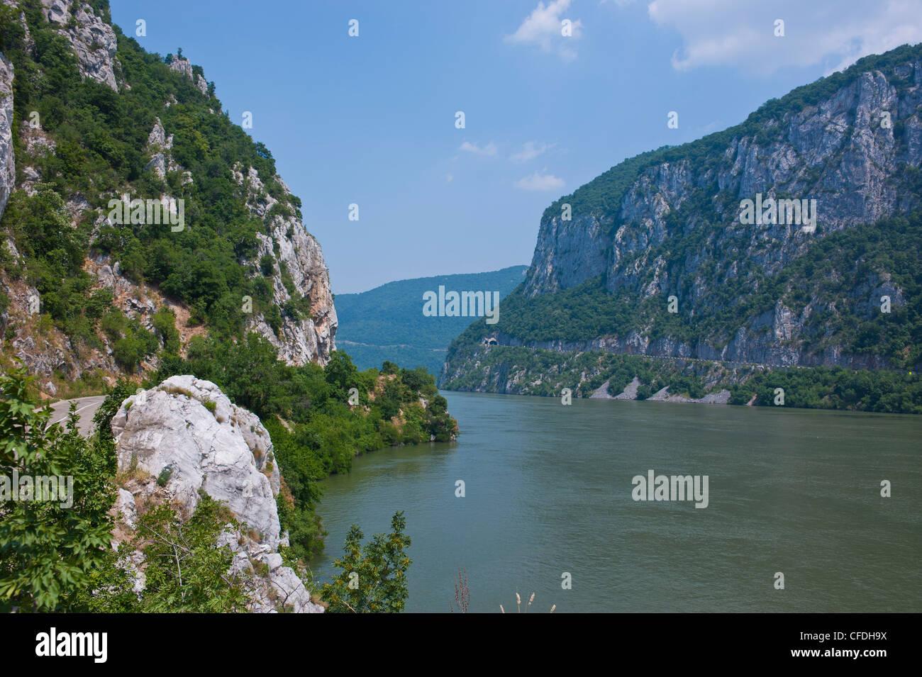 Portille de Fier (porte de fer), Danube, la vallée du Danube, en Roumanie, en Europe Photo Stock