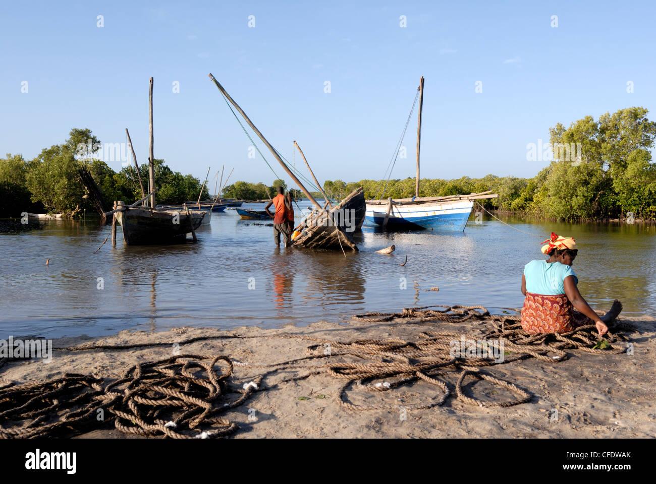 Les dhows, port près de l'île d'Ibo, le Mozambique, l'Afrique Photo Stock