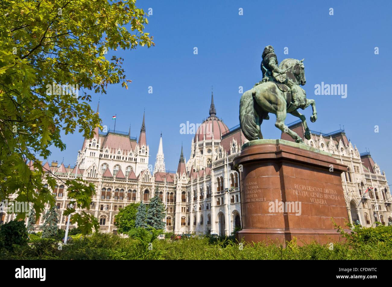 Le Parlement hongrois,entrée principale, Budapest, Hongrie Photo Stock