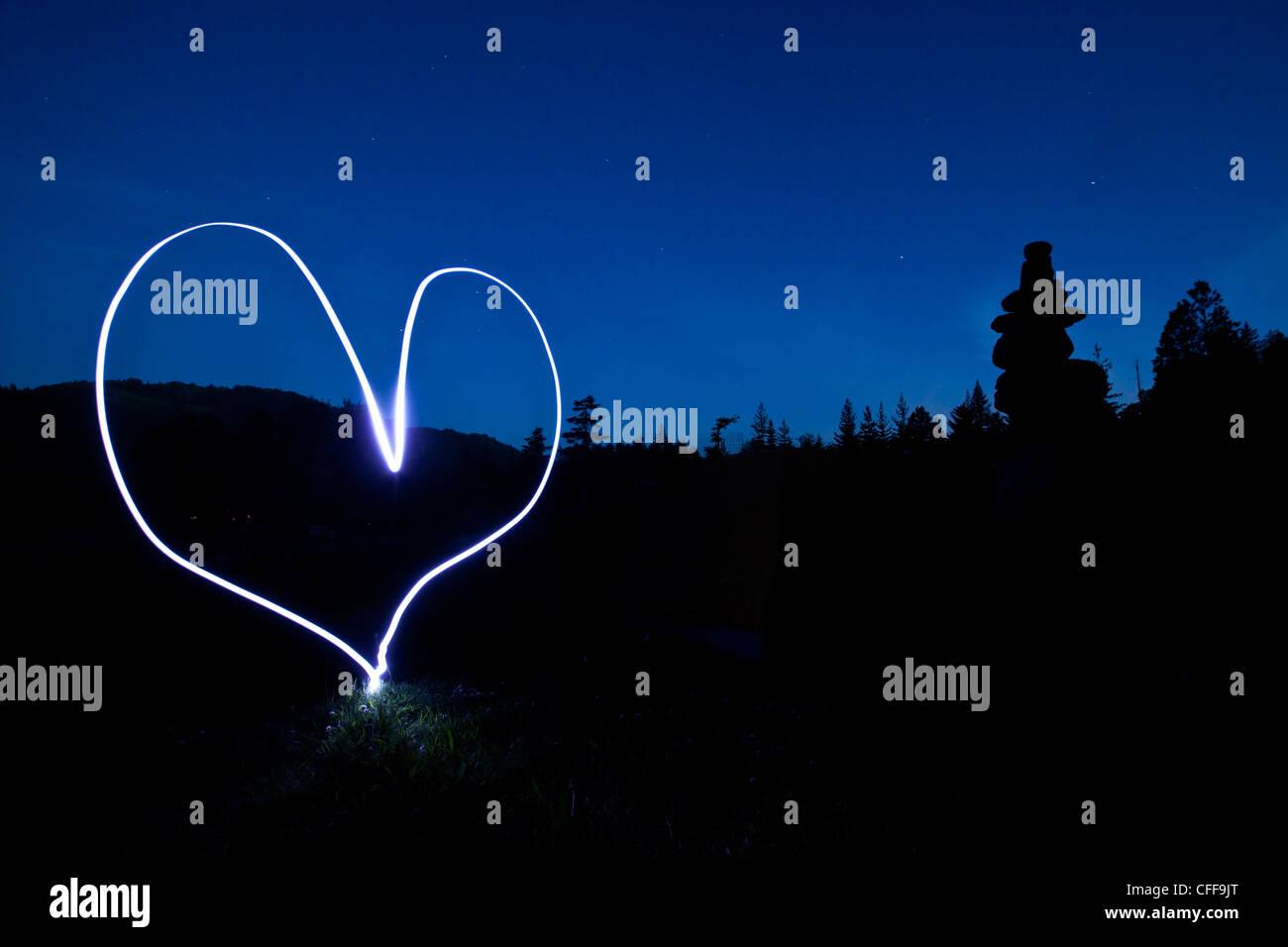 Une peinture d'un cœur au coucher du soleil dans l'Idaho. Banque D'Images