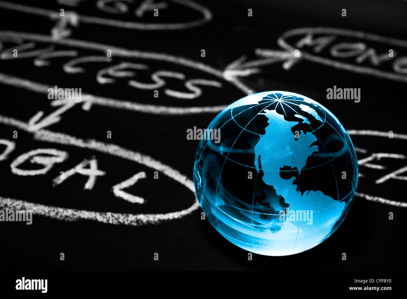 L'ordinogramme sur un tableau avec world globe montrant Nord Photo Stock