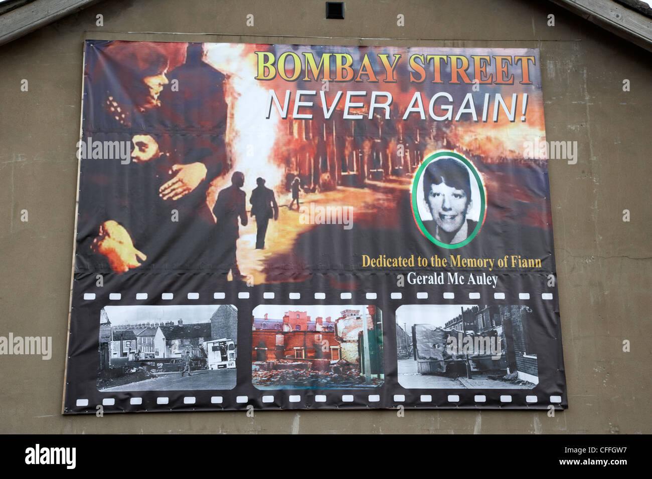 Bombay street jamais plus l'Irlande du Nord Belfast mural UK Photo Stock