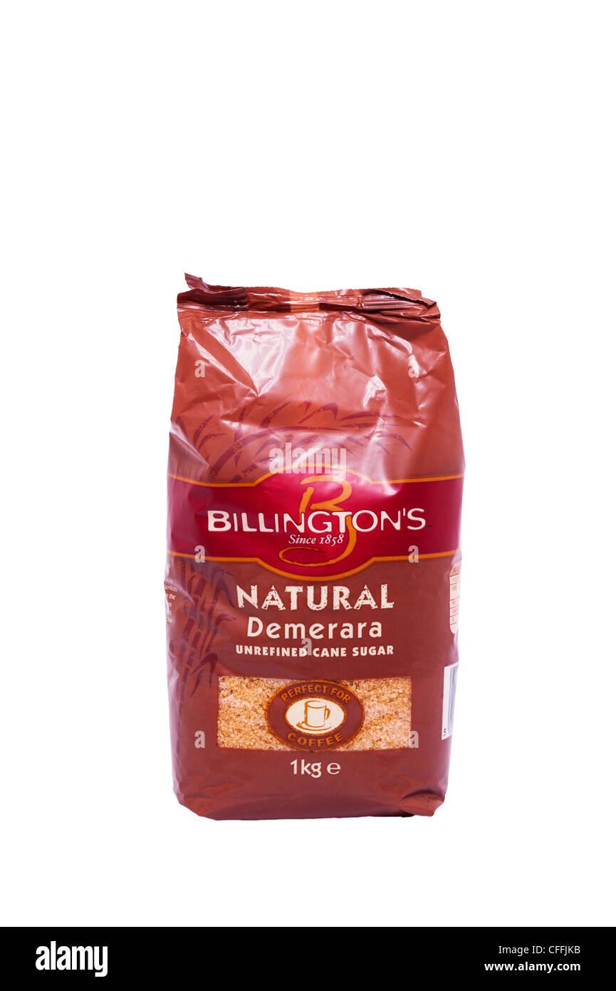 Un sac de Billington Demerara naturel du sucre de canne non raffiné sur fond blanc Photo Stock