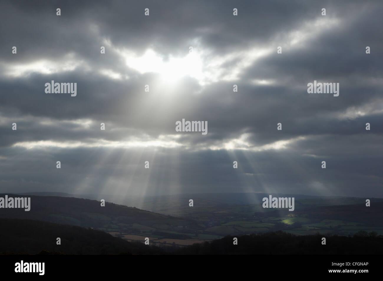 Ciel orageux sur Exmoor National Park. Le Somerset. L'Angleterre. UK. Photo Stock