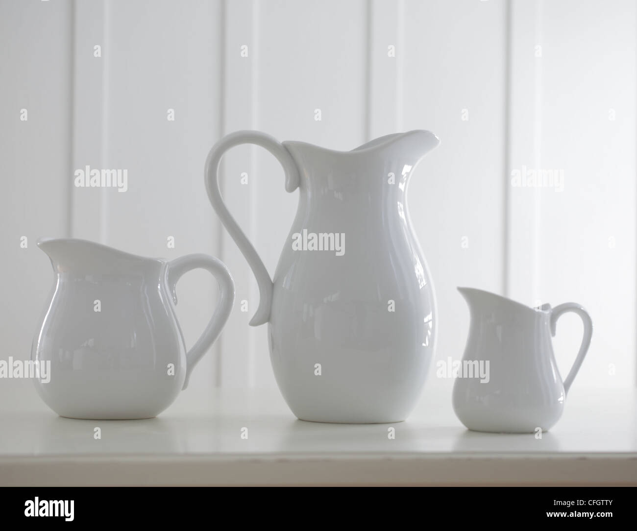 Trois vases en porcelaine Photo Stock