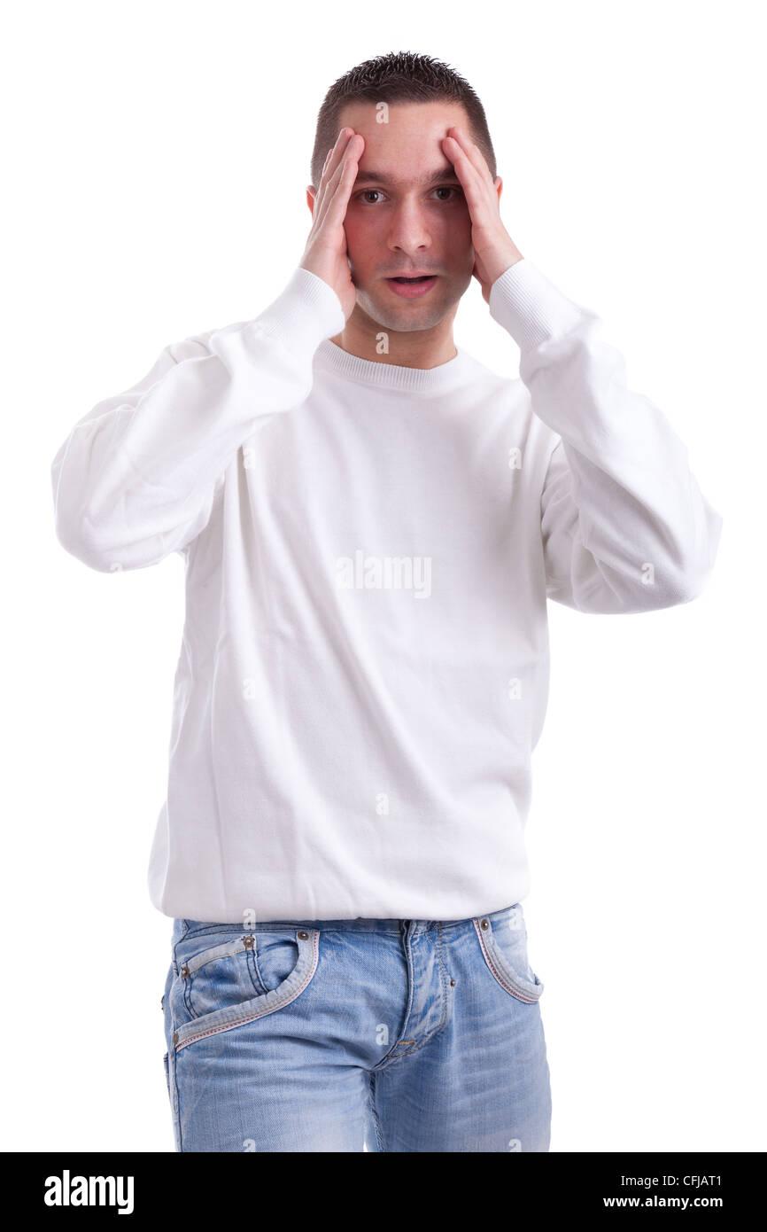 Young sport supporter tenait la tête, isolé sur fond blanc Photo Stock