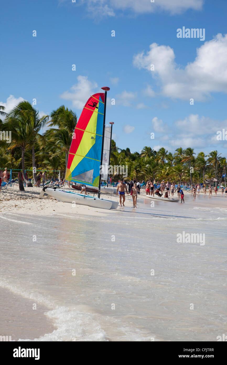 La plage de Bavaro, Punta Cana, République dominicaine, Antilles, Caraïbes, Amérique Centrale Photo Stock