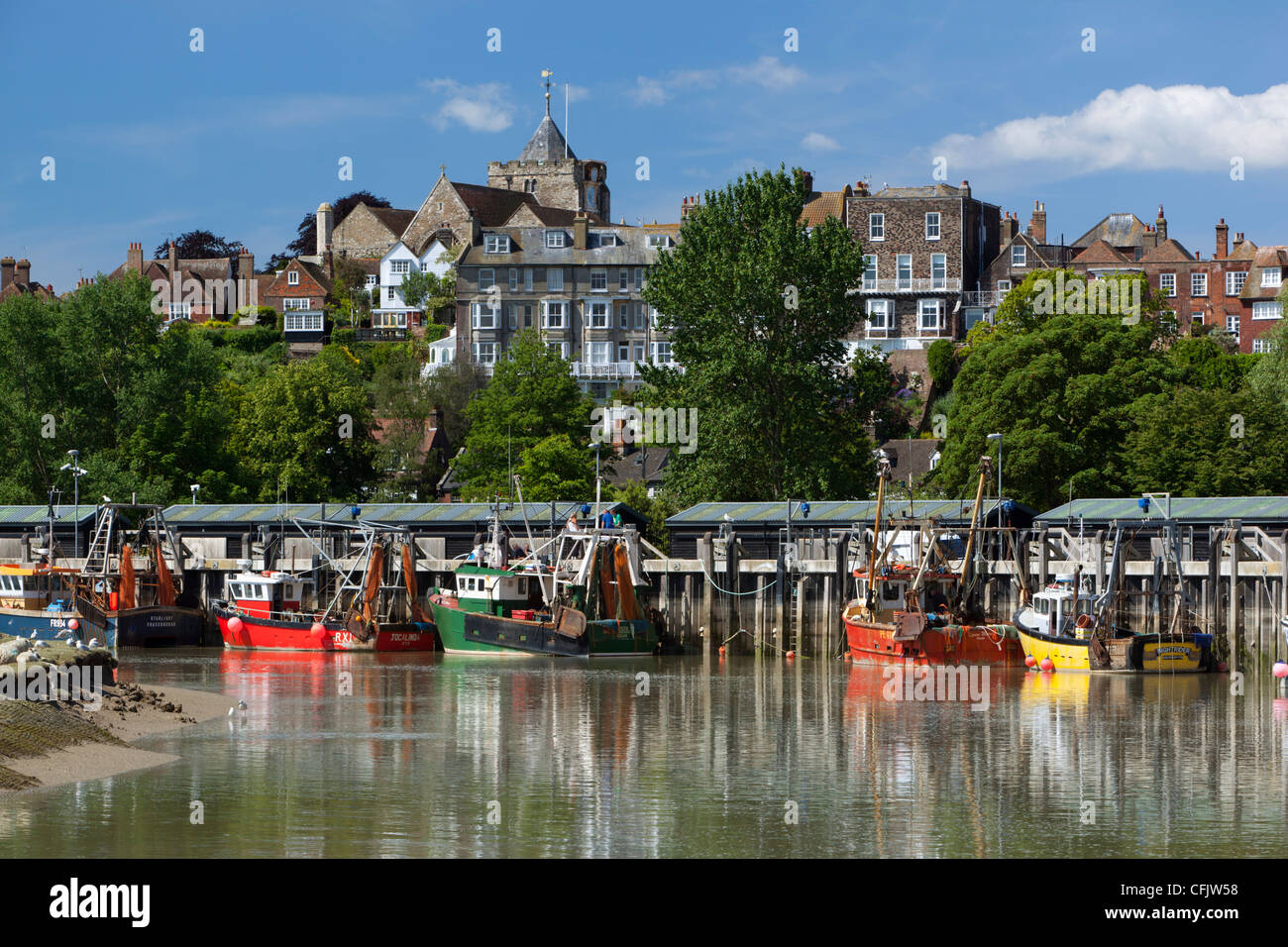 Port de pêche sur la rivière Rother, vieille ville, Rye, East Sussex, Angleterre, Royaume-Uni, Europe Photo Stock