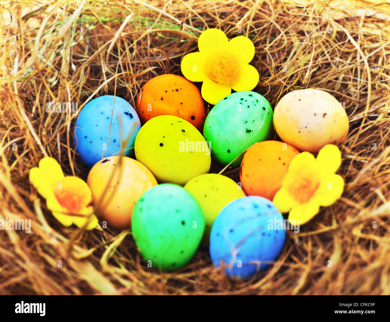 Oeufs colorés de Pâques avec de l'herbe sèche dans le nid, la nourriture traditionnelle fête Photo Stock