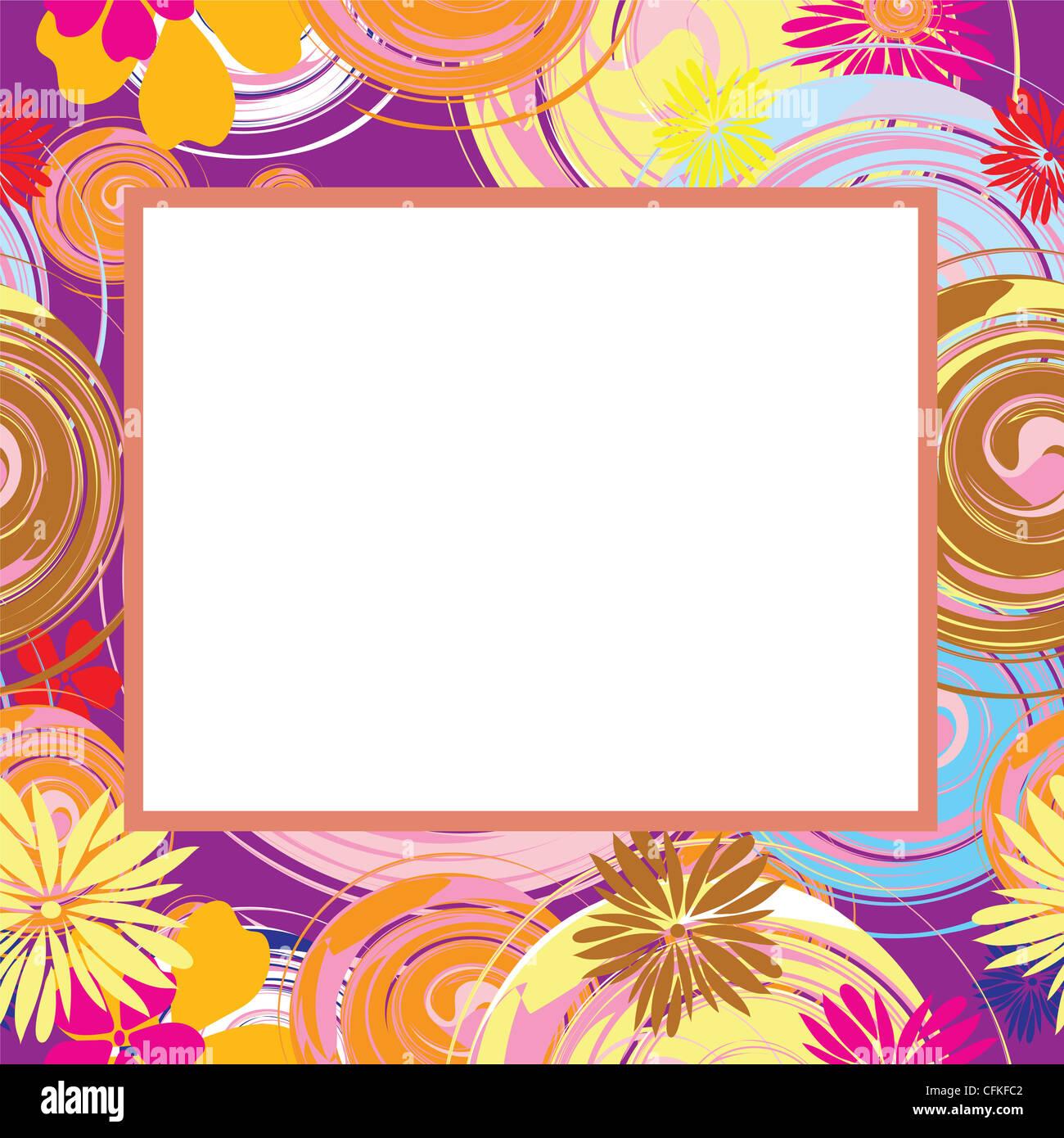 Résumé cadre avec des fleurs et des éléments ovales, vecteur, illustration Photo Stock