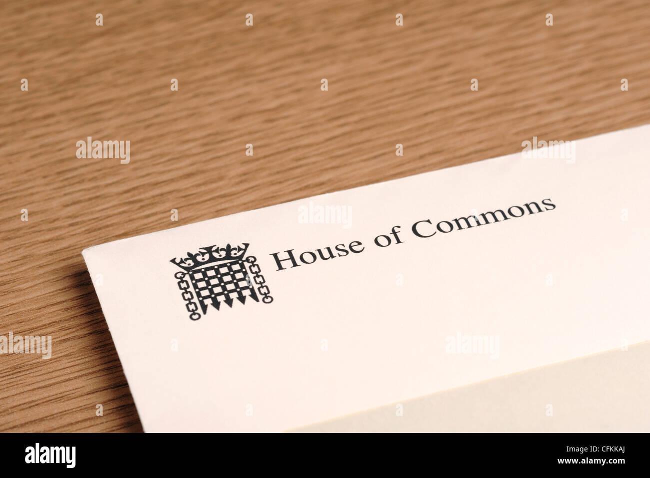 Enveloppe lettre de la Chambre des communes Photo Stock