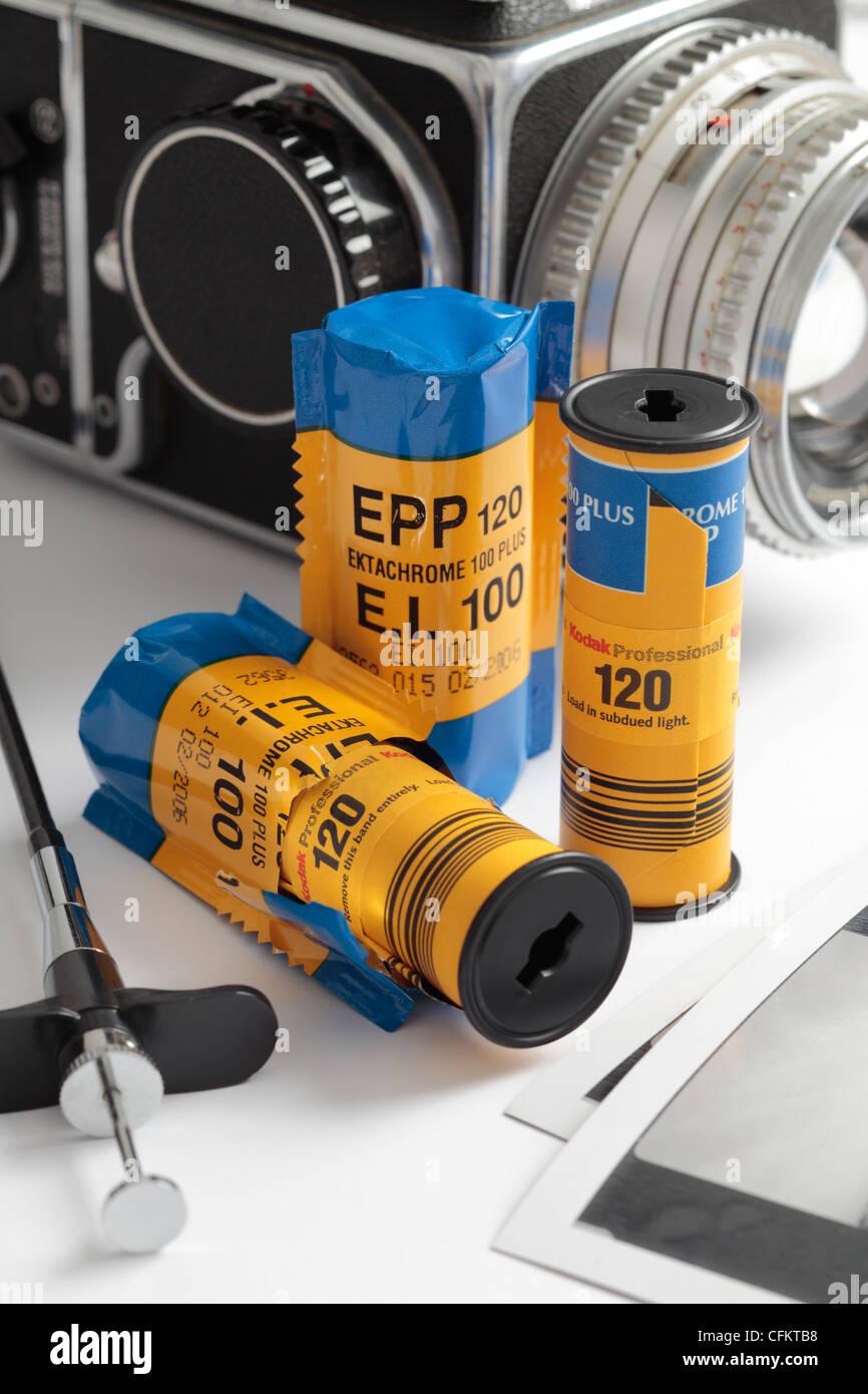 Ppe 120 Kodak Films transparents avec Hasselblad 500c en arrière-plan. Photo Stock