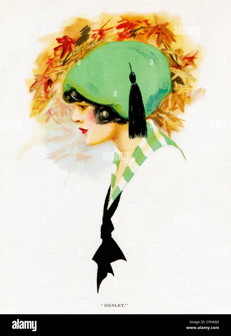 Henley, 1920 illustration Art déco d'une jolie fille dans un chapeau vert Photo Stock